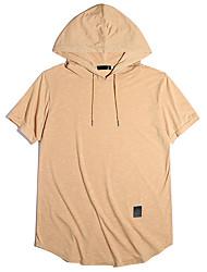 cheap -Men's Solid Colored T-shirt Daily Hooded Black / Khaki / Green / Gray / Short Sleeve
