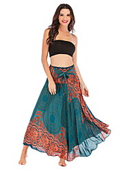 cheap -Women's Swing Skirts - Geometric Wine Green Blue One-Size
