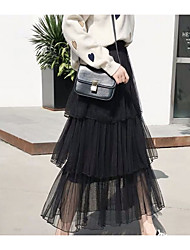 cheap -Women's Daily Wear Basic A Line Skirts - Solid Colored Blushing Pink White Black M L XL