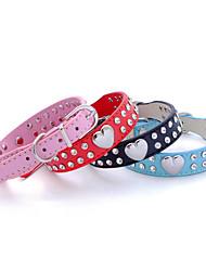 cheap -Dog Collar Adjustable / Retractable Strobe / Flashing Rhinestone Rock PU Leather Red Pink