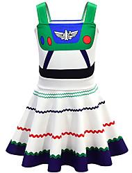 cheap -Kids Girls' Basic Cute Striped Color Block Halloween Sleeveless Knee-length Dress White