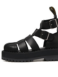 cheap -Women's Sandals Flat Heel Round Toe PU Spring & Summer Black