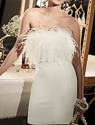 cheap -Sheath / Column Wedding Dresses Strapless Short / Mini Satin Feather Sleeveless Country Plus Size with Feathers / Fur 2020