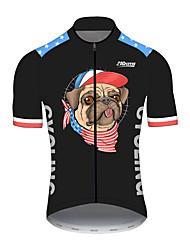 Недорогие -21Grams Муж. С короткими рукавами Велокофты Черный / красный С собакой Животное Американский / США Велоспорт Джерси Верхняя часть Горные велосипеды Шоссейные велосипеды / Эластичная / Дышащий / Флаги