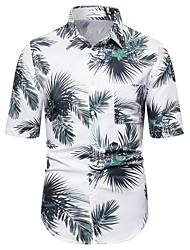 tanie -Męskie Geometric Shape Tropikalny liść Koszula Hawajskie Codzienny Biały
