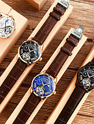 cheap -Men's Dress Watch Automatic self-winding Tourbillion Genuine Leather 30 m Water Resistant / Waterproof Calendar / date / day Day Date Analog Casual Fashion - Black / Silver Blue White One Year