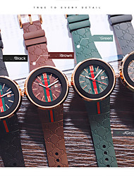 cheap -Men's Dress Watch Japanese Quartz Silicone 30 m Water Resistant / Waterproof Calendar / date / day Day Date Analog Casual Fashion - Green Brown Black One Year Battery Life
