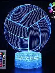 cheap -Volleyball 3D Nightlight Night Light For Children / Color-Changing / Adorable Remote Control / Touch Dimmer / Gradient Mode Valentine's Day / Christmas AA Batteries Powered / USB 1pc