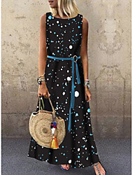 cheap -Women's 2020 Maxi Black Dress Casual Summer Loose Polka Dot Print M L Loose