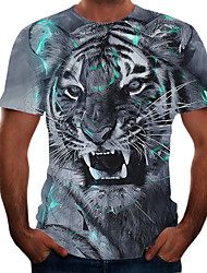 cheap -Men's Plus Size Color Block 3D T-shirt Basic Going out Weekend Round Neck Blue / Short Sleeve / Animal