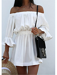 cheap -Women's Chiffon Dress - Long Sleeve Solid Color Off Shoulder White Black Red Fuchsia S M L XL XXL