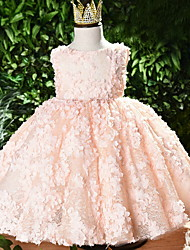 cheap -Ball Gown Short / Mini Event / Party / Birthday Flower Girl Dresses - Polyester Sleeveless Jewel Neck with Appliques