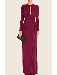 cheap -Sheath / Column Minimalist Red Wedding Guest Formal Evening Dress Jewel Neck Long Sleeve Floor Length Chiffon with Pleats Ruched 2020