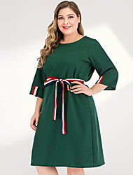 cheap -Women's Plus Size Maxi A Line Dress - 3/4 Length Sleeve Solid Color Spring & Summer Elegant Street chic Going out Flare Cuff Sleeve Green L XL XXL XXXL