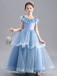 cheap -A-Line Floor Length Party / Pageant Flower Girl Dresses - Tulle / Polyester Sleeveless Jewel Neck with Tier / Paillette