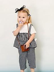 Недорогие -малыш Девочки Классический Шахматка С короткими рукавами Обычный Набор одежды Белый