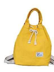 Недорогие -Большая вместимость Полиэстер холст Молнии рюкзак Сплошной цвет Повседневные Желтый / Зеленый / Синий
