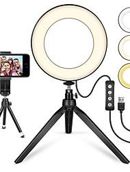 Недорогие -Brelong® круглый селфи кольцо TikTok Light YouTube видео ночной свет с USB-портом / фары для фотографий / светодиодное косметическое зеркало переключения режимов USB 1шт