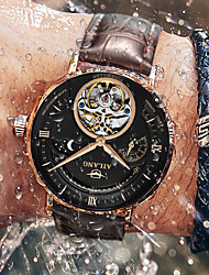 cheap -Men's Mechanical Watch Automatic self-winding Tourbillion Fashion Water Resistant / Waterproof Analog White Black Blue / One Year / Genuine Leather / Compass / Dual Time Zones / Noctilucent