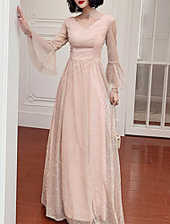 cheap -A-Line Glittering Pink Party Wear Prom Dress V Neck Long Sleeve Floor Length Tulle with Sequin 2020