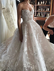 cheap -Ball Gown Wedding Dresses Sweetheart Neckline Sweep / Brush Train Polyester Sleeveless Country Plus Size with Lace Insert Appliques 2020