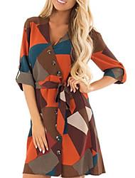 cheap -Women's A Line Dress - Long Sleeve Print V Neck Brown S M L XL XXL