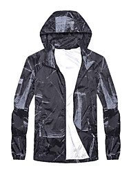 cheap -Men's Daily / Sports Basic Spring &  Fall / Spring & Summer Regular Jacket, Color Block Hooded Long Sleeve Nylon Print White / Black / Gray