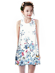 cheap -Kids Girls' Basic Cute Butterfly Cherry Plants Floral Animal Print Sleeveless Knee-length Dress Blue