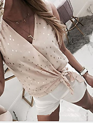 cheap -Women's Polka Dot Slim Shirt Daily V Neck Wine / Blue / Blushing Pink / Khaki / Gray