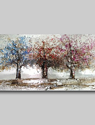 cheap -Oil Painting Hand Painted - Abstract Comtemporary Modern Stretched Canvas Trees Purple