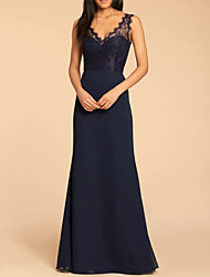 cheap -A-Line Scalloped Neckline Floor Length Chiffon Sleeveless Sexy Mother of the Bride Dress with Lace 2020