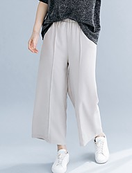 cheap -Women's Basic Wide Leg Pants - Solid Colored Blue Beige One-Size