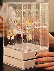 cheap -Trays Transparent Acrylic Luxury Jewelry Display Box Layers Drawers Dustproof Acrylic Ear Clip Ear Nail Earrings Storage Box 24.5X13.5X13CM