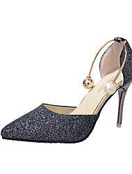 cheap -Women's Sandals 2020 Stiletto Heel Pointed Toe Imitation Pearl / Sequin PU Booties / Ankle Boots Sweet Walking Shoes Spring & Summer Gold / Silver / Black / Wedding / Party & Evening