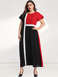 cheap -Women's Plus Size Maxi Black & Red A Line Dress - Long Sleeve Color Block Solid Color Patchwork Casual Elegant Daily Going out Flare Cuff Sleeve Belt Not Included Loose Red L XL XXL XXXL XXXXL