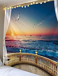 Недорогие -пляж за окном печатный гобелен дешевый хиппи на стене богемный гобелен мандала стены арт-деко