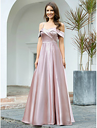 cheap -A-Line Empire Pink Wedding Guest Prom Dress Spaghetti Strap Short Sleeve Floor Length Satin Polyester with Sleek 2020