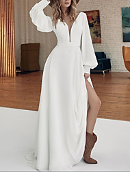 cheap -A-Line Wedding Dresses V Neck Sweep / Brush Train Floor Length Stretch Satin Long Sleeve Country Plus Size with Split Front 2020