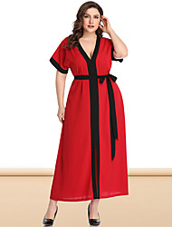 cheap -Women's Plus Size Maxi A Line Dress - Short Sleeves Color Block Solid Color Pleated Patchwork V Neck Casual Sexy Daily Flare Cuff Sleeve Loose Red Blushing Pink XL XXL XXXL XXXXL XXXXXL