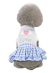 cheap -Dog Dress Heart Quotes & Sayings Love Romantic Sweet Dog Clothes Puppy Clothes Dog Outfits Blue Pink Costume for Girl and Boy Dog Cotton XS S M L XL