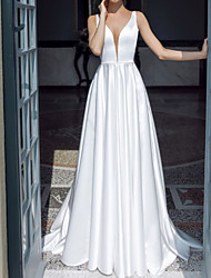 cheap -A-Line Wedding Dresses Plunging Neck Sweep / Brush Train Taffeta Chiffon Over Satin Sleeveless Country Plus Size with Ruched 2020