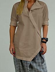 cheap -Women's Solid Colored Criss Cross Blouse Daily Shirt Collar White / Black / Blue / Khaki / Gray
