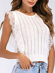 cheap -Women's Blouse Shirt Striped Lace Lace Trims Round Neck Tops Basic Top White Black