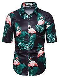 tanie -Męskie Geometric Shape Zwierzę Flamingi Nadruk Koszula Codzienny Zielony