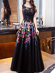cheap -Ball Gown Floral Black Engagement Formal Evening Dress Illusion Neck Sleeveless Floor Length Chiffon Lace with Lace Insert Pattern / Print 2020