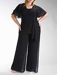 cheap -Pantsuit / Jumpsuit Mother of the Bride Dress Elegant Bateau Neck Floor Length Chiffon Half Sleeve with Beading Ruching 2021