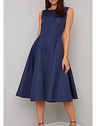cheap -A-Line Mother of the Bride Dress Elegant Jewel Neck Tea Length Satin Sleeveless with Pleats 2020