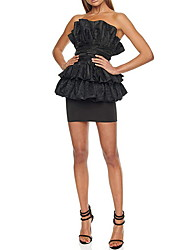 cheap -Two Piece Sexy Black Homecoming Cocktail Party Dress Strapless Sleeveless Short / Mini Spandex with Pleats 2020