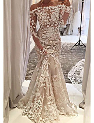 cheap -Mermaid / Trumpet Wedding Dresses Off Shoulder Sweep / Brush Train Tulle Long Sleeve Country Plus Size with Lace Appliques 2020