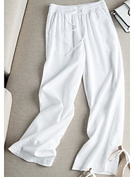 cheap -Women's Basic Loose Cotton Wide Leg Chinos Pants - Solid Colored White Black Blue S / M / L